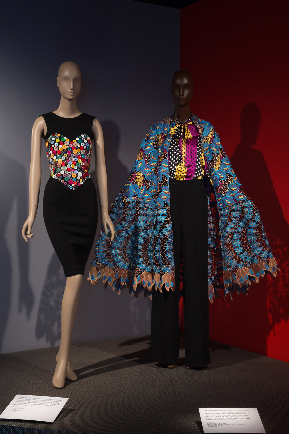Photo credits (from left to right): Patrick Kelly, dress, fall/winter 1986-1987, France. Museum purchase. Duro Olowu, ensemble, fall 2012, England. Gift of Duro Olowu.