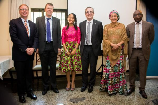 Christopher Thornley, Canadian Ambassador to Nigeria, Dr. Daniel Cavegn, Deputy Swiss High Commissioner, Ndidi Nwuneli, Founder, LEAP Africa, HE Mr. Paul Lehmann, Australian High Commissioner to Nigeria, HE Amina Mohammed, Minister of the Environment, Dr. Owens Wiwa, Country Director, Clinton Global Health Access at a Forum on Reaching Millions with Impact, hosted by the Australian High Commission in Abuja