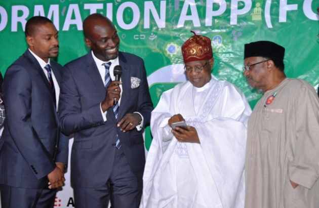 L-R: Chief Technology Officer of L-Cube, Diji Adu, the Chief Executive Officer of L-Cube, Mr. Olawale Wale-Falope, Minister of Information and Culture, Alhaji Lai Mohammed and the Minister of State for Health, Dr. Osagie Ehanire at the launch of the Federal Government of Nigeria Information App (FGN IAPP) in Abuja on Thursday.