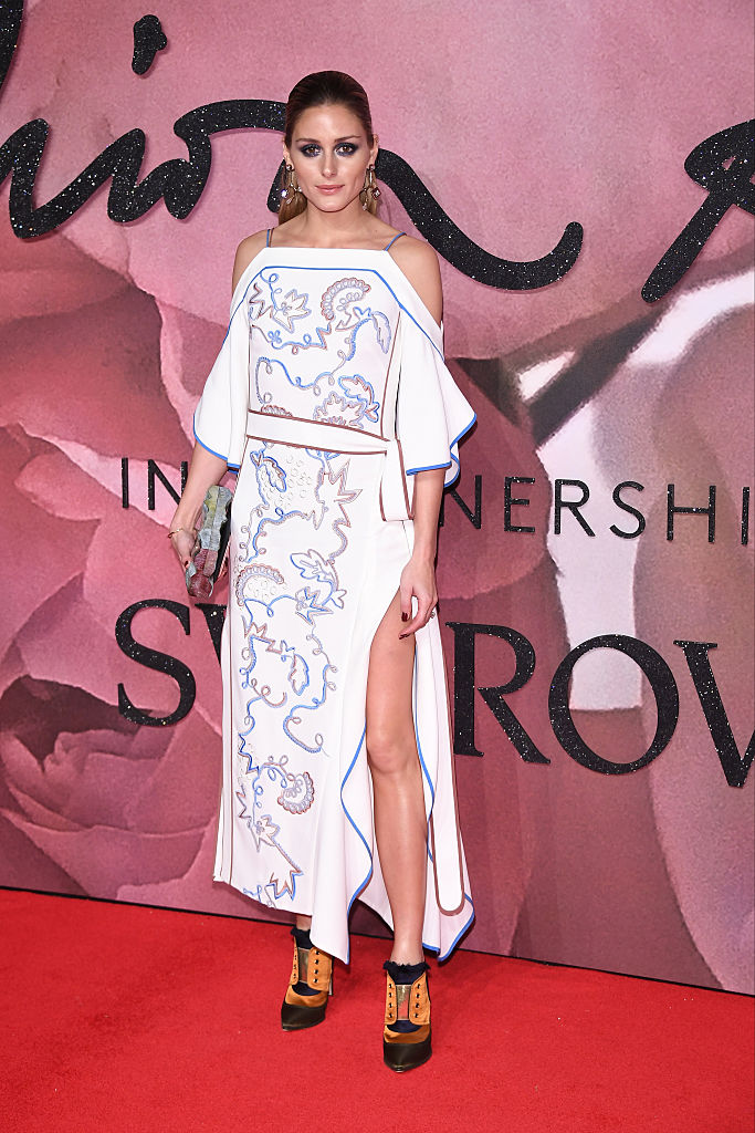 LONDON, ENGLAND - DECEMBER 05: Olivia Palermo walks the red carpet for the British Fashion Awards 2016 on December 5, 2016 in London, England. (Photo by Venturelli/Getty Images for GUCCI)