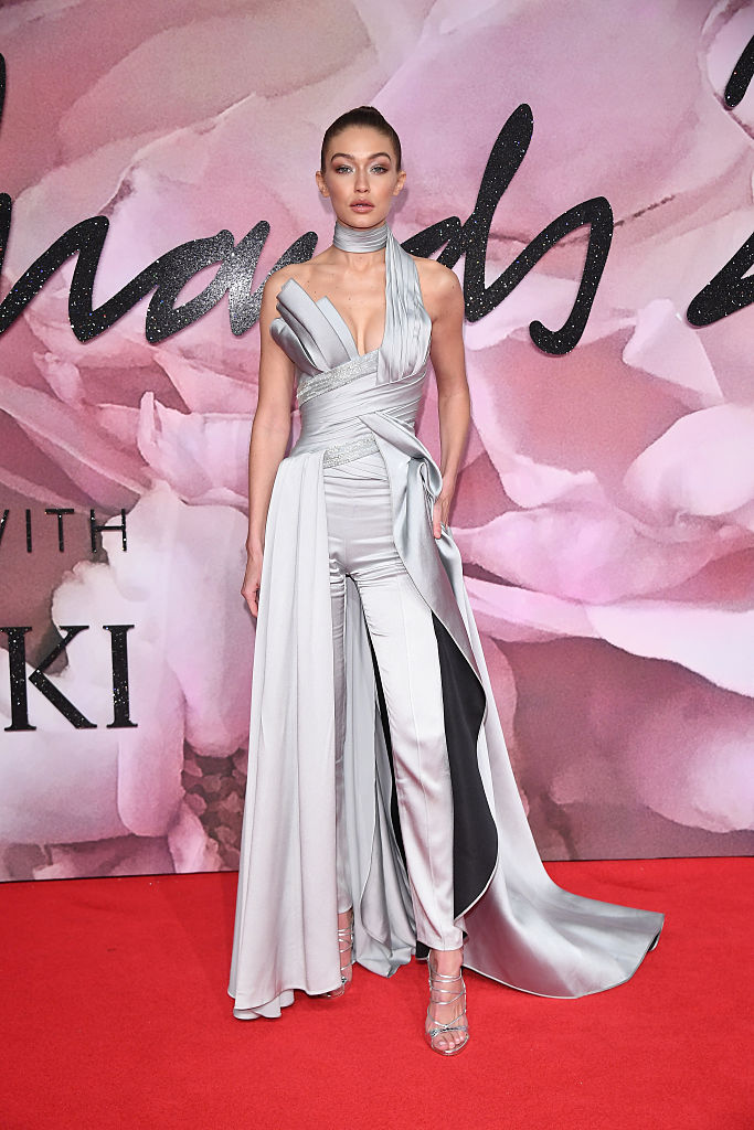 LONDON, ENGLAND - DECEMBER 05: Gigi Hadid walks the red carpet for the British Fashion Awards 2016 on December 5, 2016 in London, England. (Photo by Venturelli/Getty Images for GUCCI)