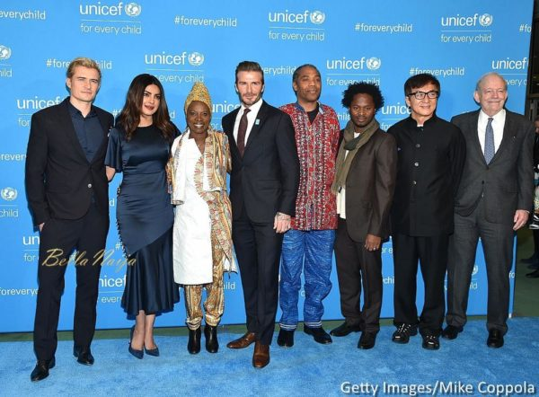 Orlando Bloom, Priyanka Chopra, Angelique Kidjo, David Beckham, Ishmael Beah and Jackie Chan