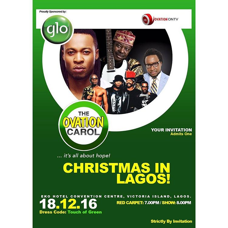 Glo-sponsored 2016 Ovation Carol gets bigger as Niniola, Simi, Shiikane join Cameo, Flavour, KSA to Perform |  Sunday, December 18th