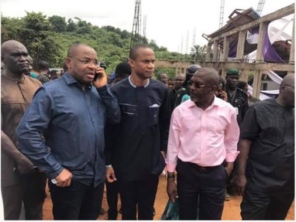 Governor Udom Emmanuel at the scene of the tragedy