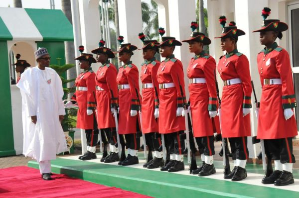 President Muhammadu Buhari inspecting Guard of Honour by Special Female Quater Guards during a special 74th Birthday Parade for President Muhammadu Buhari at the Presidential Villa Abuja on Saturday (17/12/16/) 9157/17/12/2016/CALLISTUS EWELIKE/NAN