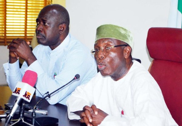 Pic. 30. Minister of Agriculture and Rural Development, Chief Audu Ogbeh (R), with the Minister of State, Sen Heineken Lokpobiri, during a News Conference on Huge Grains Export and Fear of Famine in the Country, in Abuja on Monday (5/12/16). 8880/5/12/2016/Hogan-Bassey/NAN