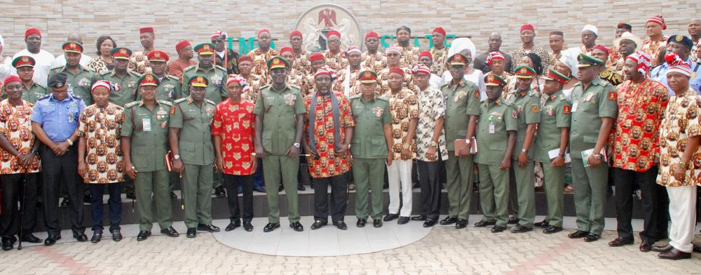 Pic.3. Gov. Rochas Okorocha of Imo (Front Row, 8th, L); the Chief of Army Staff, Lt.- Gen.Tukur Buratai (Front Row, 7th, L); and officials of the Army, Police and the state Government, when the Army chief led other officers on a courtesy call on the governor at the Government House in Owerri on Monday, over the 2016 Chief of Army Staff's Conference taking place in Owerri soon. 8885/6/12/2016/Chidi Opara/BJO/NAN