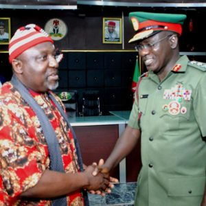 Pic.4. Gov. Rochas Okorocha of Imo (L) welcoming the Chief of Army Staff, Lt.-Gen.Tukur Buratai when the Army chief led other officers on a courtesy call on the governor at the Government House in Owerri on Monday, over the 2016 Chief of Army Staff's Conference taking place in Owerri soon. 8886/6/12/2016/Chidi Opara/BJO/NAN
