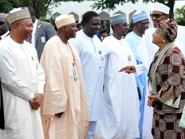 Pic.4. President Muhammadu Buhari (2nd, R) introducing members of his cabinet to the visiting Liberian President, Mrs Ellen Johnson Sirleaf at the Presidential Villa IN Abuja on Monday (5/12/16).  8854/5/12/2016/Callistus Ewelike/BJO/NAN