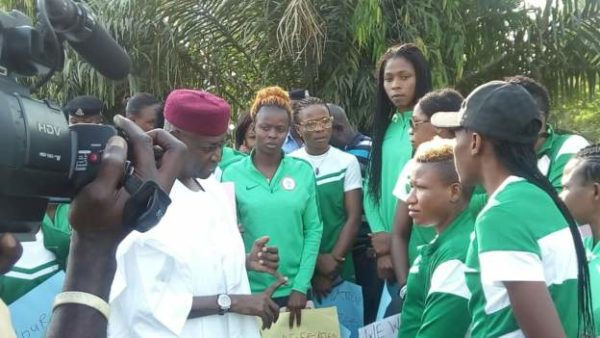 Super Falcons with Abba Kyari. Photo Credit: BBC