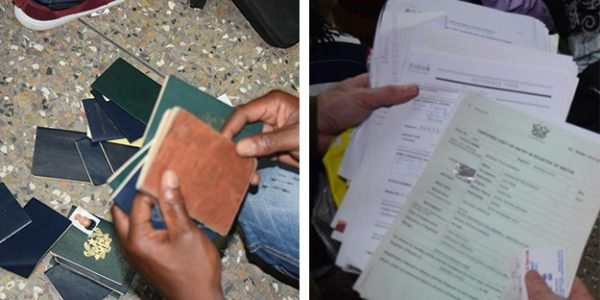 Left: Some of the 150 seized passports collected during the raids. Right: Some of the banking, education, and other identification paperwork seized during the raids. (U.S. Department of State photos)