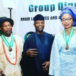 VP Yemi Osinbanjo (M) with Professor Omowunmi Sadik (R) and Professor Tanure Ojaide (L)