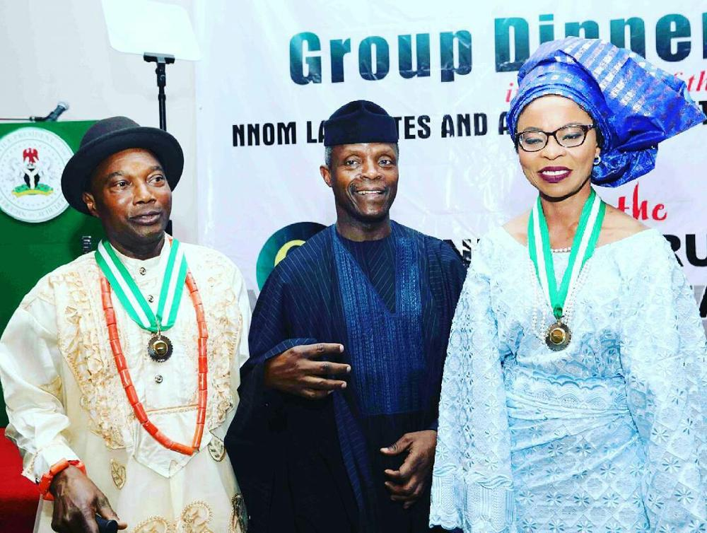 VP Yemi Osinbanjo (M) with Professor Omowunmi Sadiq (R) and Professor Tunde Ojaide (L)