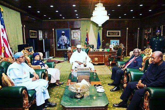 Buhari, Mahama, Sirleaf, Koroma visit Jammeh2