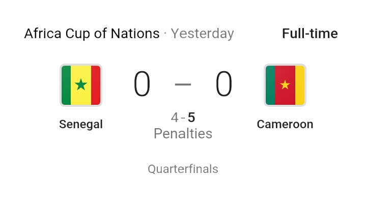 Cameroon beat Senegal to reach Afcon semis