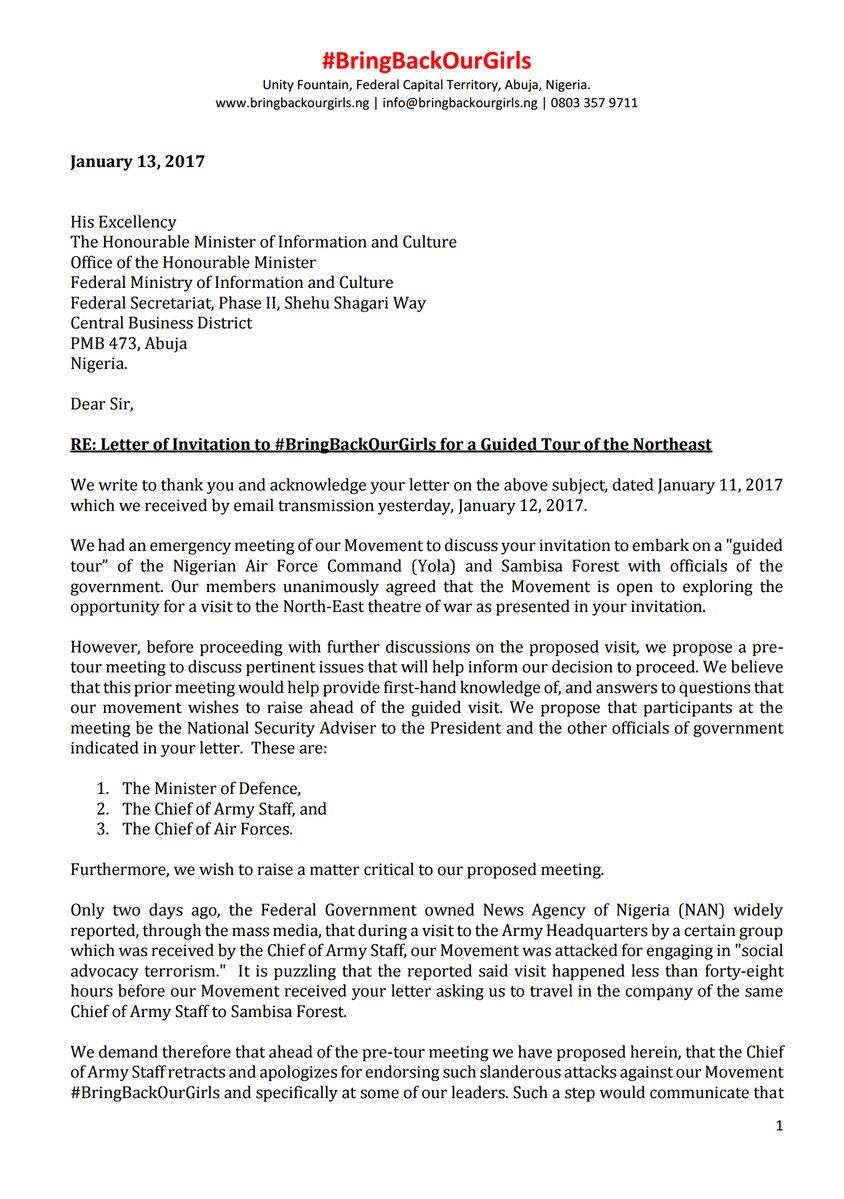 fg invites bbog group for tour of sambisa bbog replies list bbog s letter