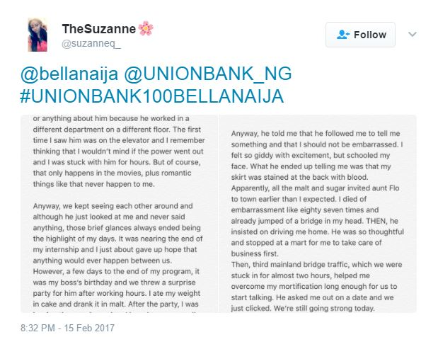 And the Winner for Day 1 of the #UnionBank100BellaNaija Valentine Season Giveaway is…
