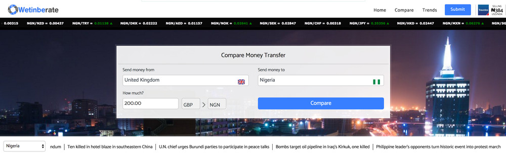 Wetinberate Also Offers A Solid Comparison Chart On Money Transfer Companies From All Across The Globe Western Union To Moneygram Or Azimo