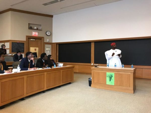 Adebola Williams speaking at Harvard Business School