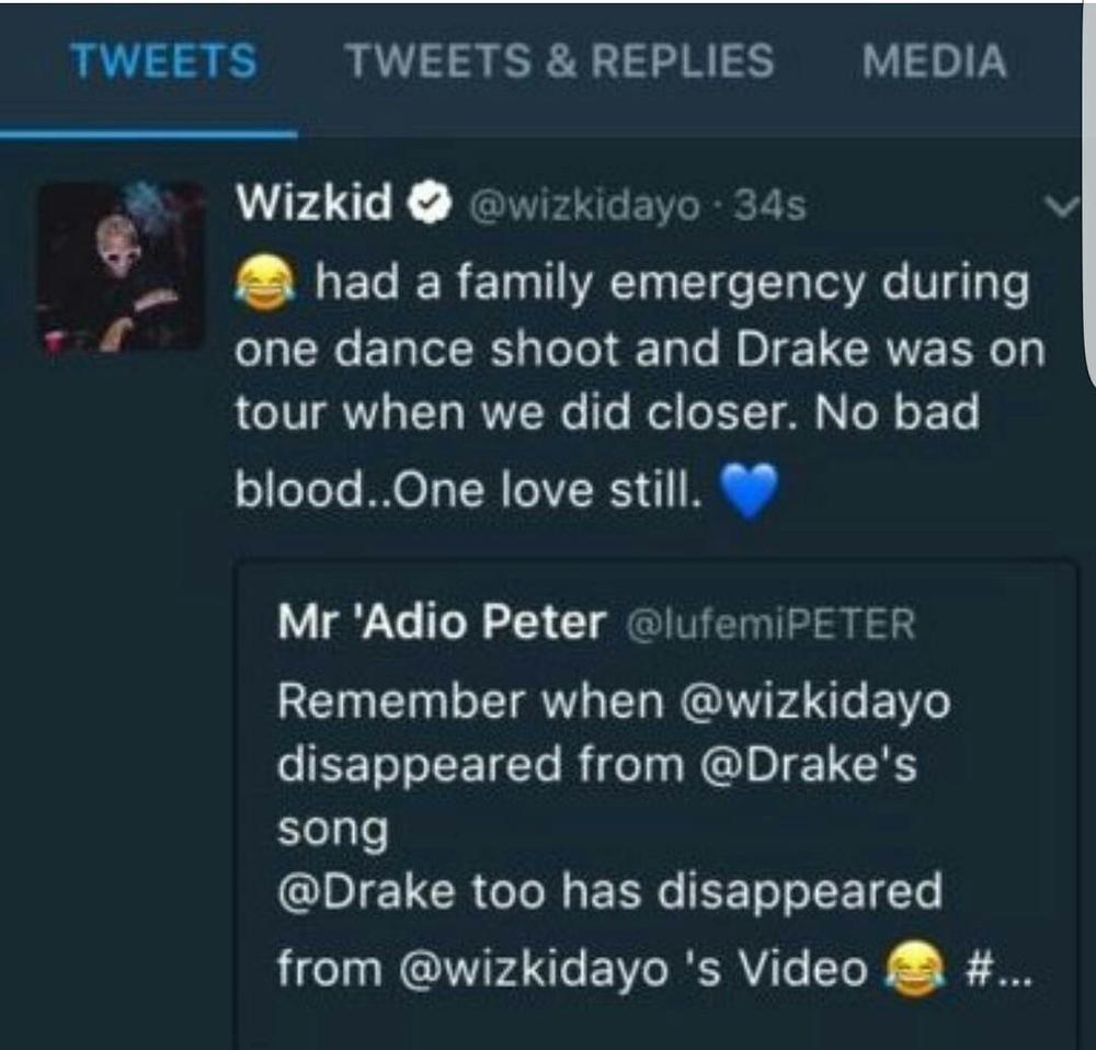 Image result for wizkid drake tweet come closer