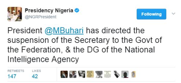 Breaking President Buhari Suspends Sgf Babachir Lawal