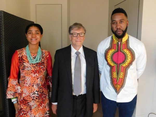 L-R: Zuriel Oduwole, Bill Gates and Ndaba Mandela
