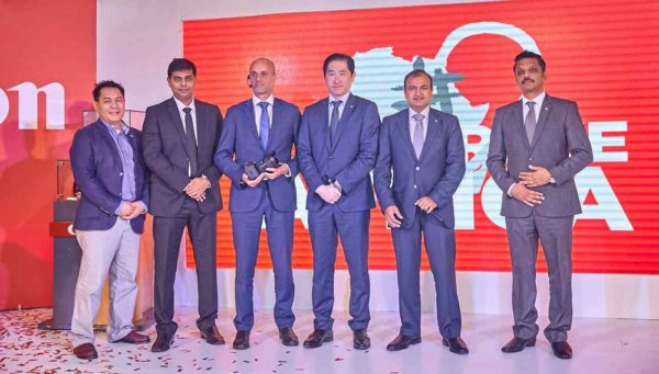 L-R: Raul Gabat, Business Developer, CIG Marketing, Canon Middle East, Parag Kauangal, Product Manager, Photo Video, CCNA, Roman Troethandl, MD CCNA, Koji Sato, B2C Sales Development & Marketing Director, CANON EUROPE. Somesh Adukia - Regional Sales Director, Canon MIDDLE EAST and Rashad Ghani, Product Manager, OPP.