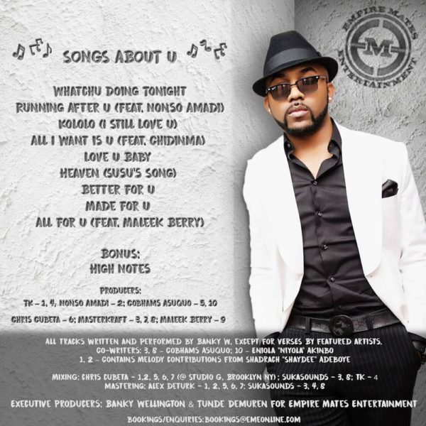 "BellaNaija - Banky W drops Tracklist for upcoming EP ""Songs About U"""