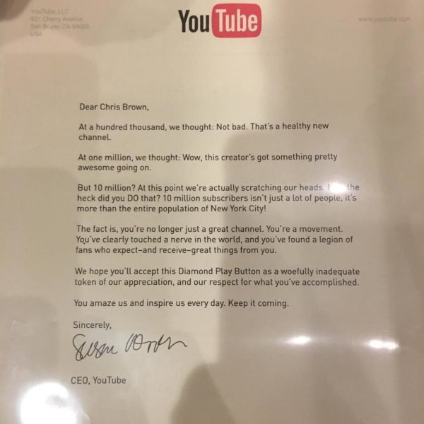 BellaNaija - YouTube awards Chris Brown with Diamond Play Button on attaining 10million Subscribers