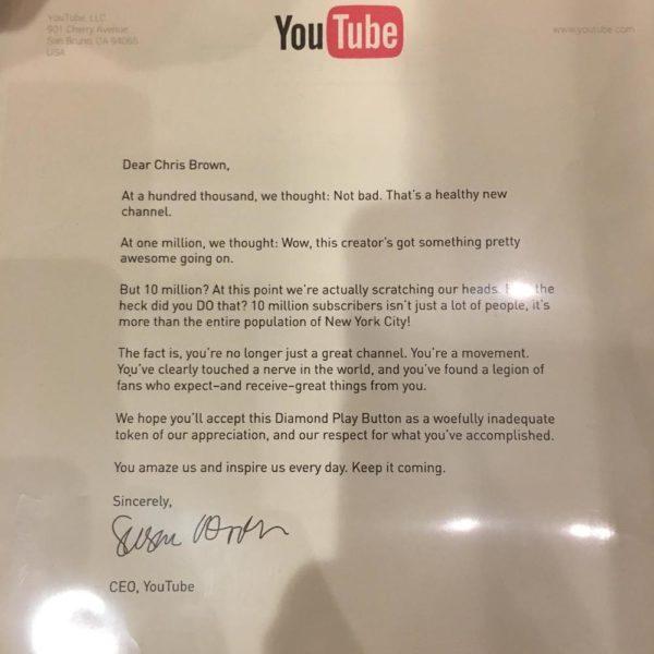 BellaNaija - YouTube awards Chris Brown with Diamond Play Button on attaining 10million Subscribers