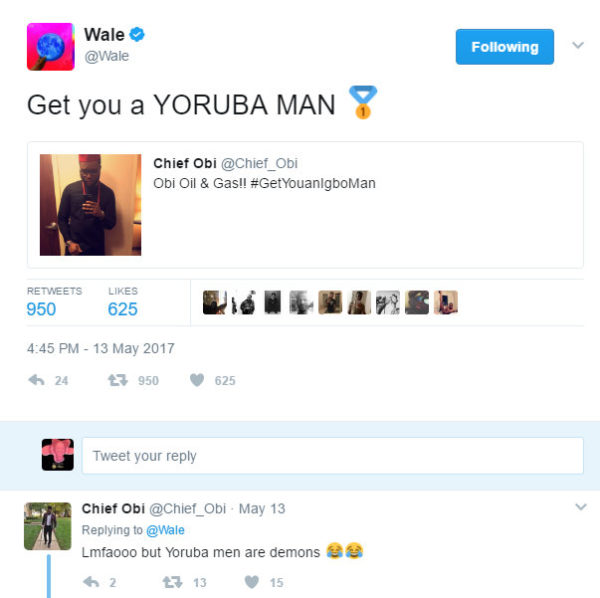 BellaNaija - Checkout this Funny Exchange between Chief Obi and Wale on Twitter