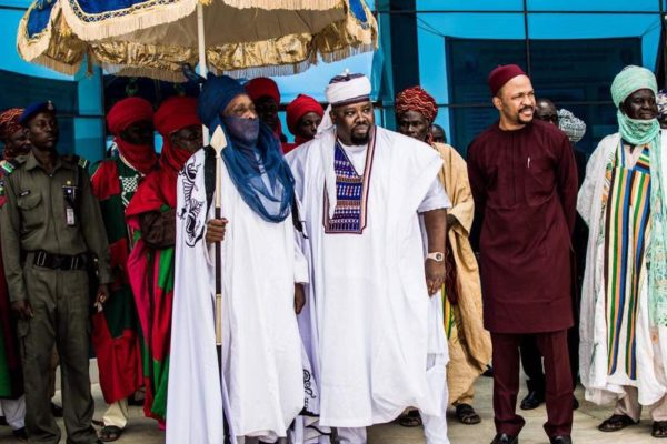 The Emir of Dutse, the Dan Amana and Chief Emeka Nwajiuba awaiting the arrival of the Ooni of Ife at The airport