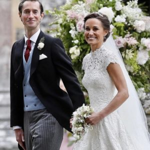 pippa middleton wearin giles deacon wedding dress