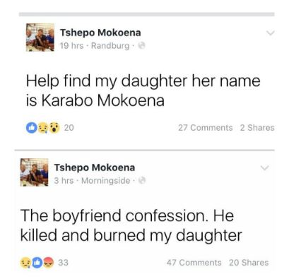 #RIPKarabo: So Sad! This Domestic Violence Victim was reported Missing but Later Found Murdered and Burned by her Ex-Boyfriend