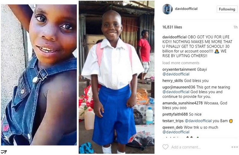 BellaNaija - Davido helps a Little Fan start School