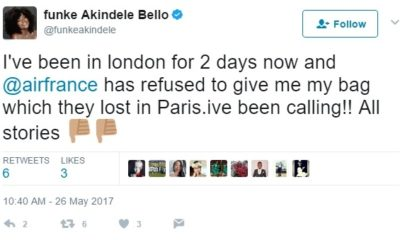BellaNaija - Funke Akindele Bello accuses AirFrance of delaying her Luggage