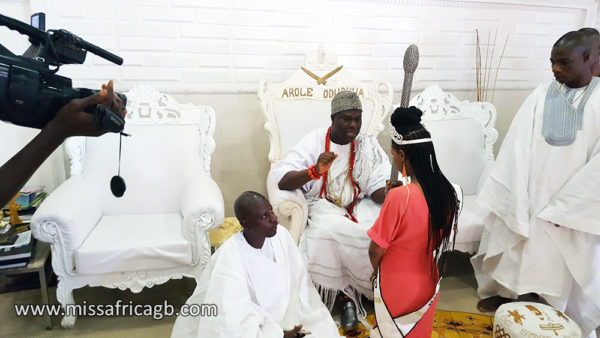 """missafricagb ooni of ife 1 600x338 - Sarah Jegede """"Miss Africa Great Britain""""  Visits Ooni of Ife"""