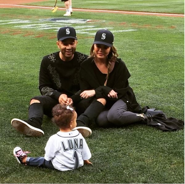 Too Adorable! Chrissy Teigen & John Legend's 1-Year Old Daughter Luna has thrown her Very First Ceremonial Pitch