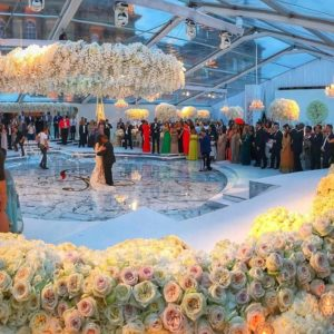 First Look! Naza and Folarin Alakija's Wedding – Robin Thicke performed, Jeff Leatham transformed Blenheim Palace