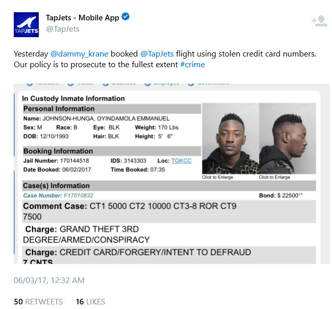 BellaNaija - American Private Jet Service claim Dammy Krane booked a Flight with Fake Credit Cards