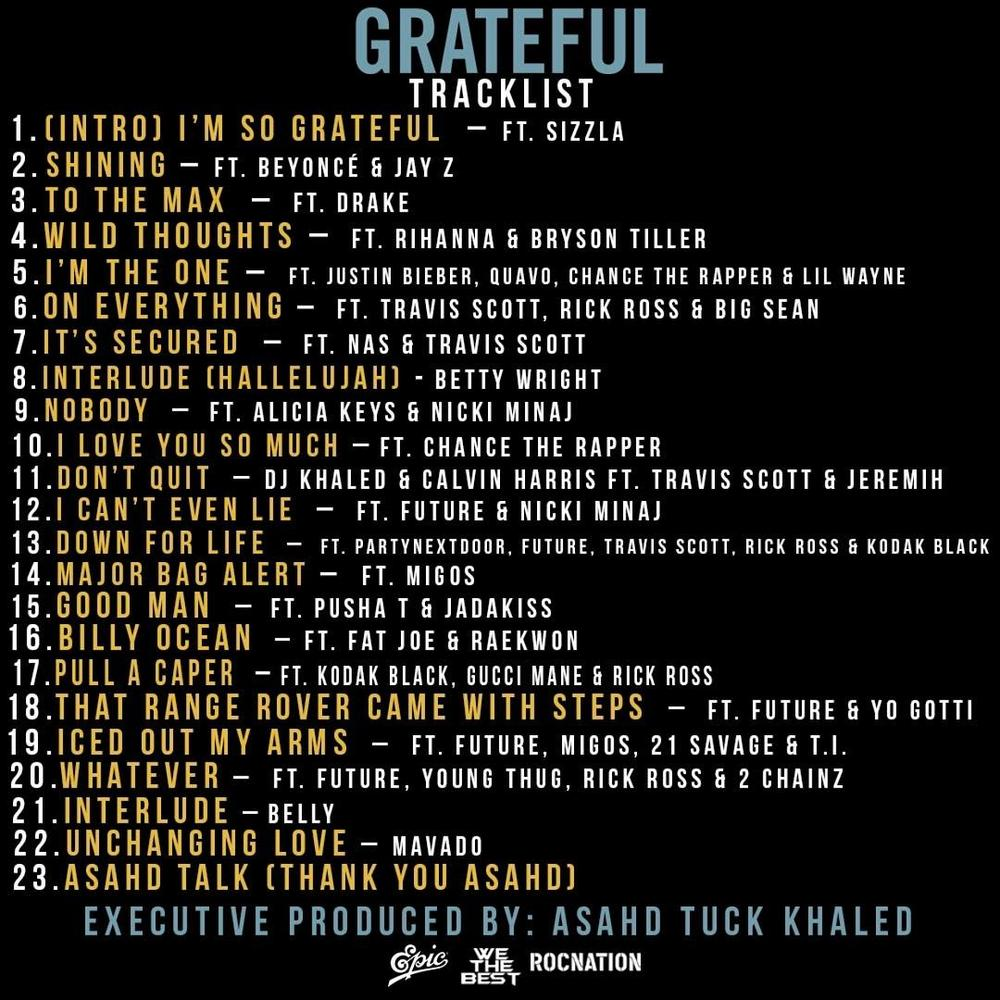 "BellaNaija - DJ Khaled unveils Star-Studded Album Tracklist for ""Grateful"""