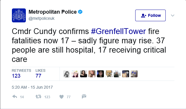 Death toll in London fire expected to rise