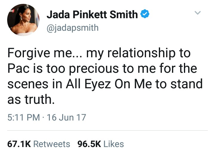 "BellaNaija - ""Pac never said goodbye to me"" - Jada Pinkett Smith faults 2Pac's Biopic ""All Eyez on Me"""