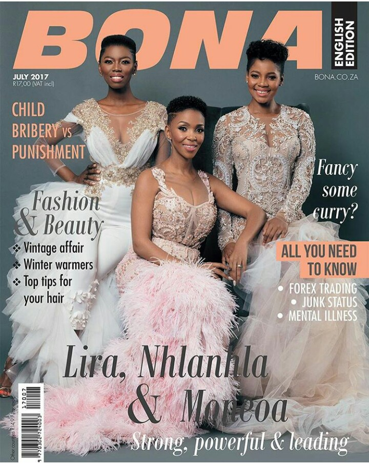 South Africans Nhlanhla Nciza, Lira & Moneoa Grace Bona Magazine's July 2017 Cover