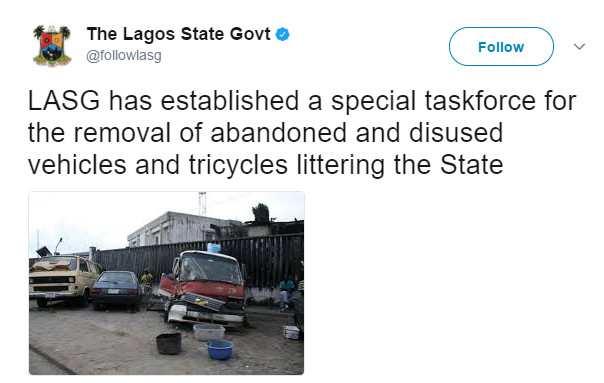 "Lagos to Begin Removal of ""Abandoned and Disused"" Vehicles on Roads July 1"