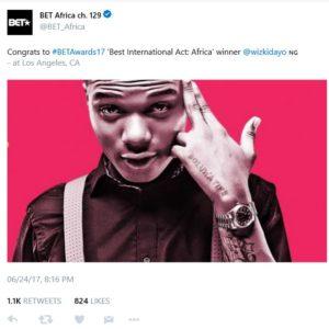BellaNaija - Wizkid wins BET Awards' Best International Act (Africa)