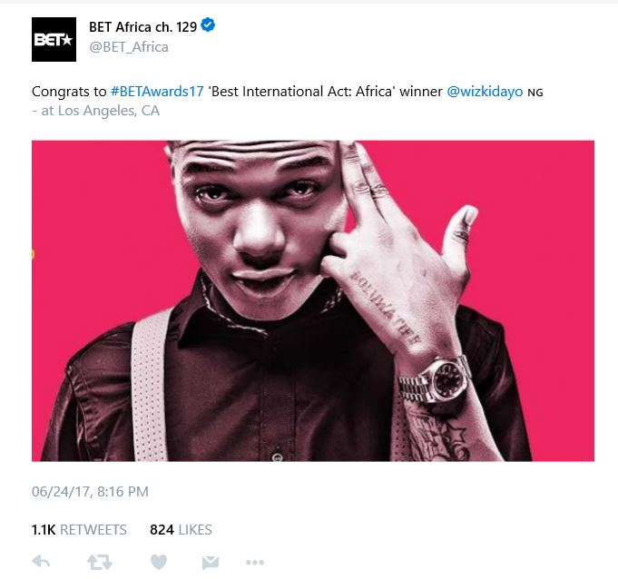 BellaNaija - Wizkid wins BET Awards' Best International Act (Africa)