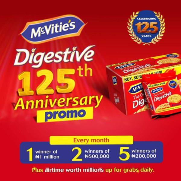 Participate in McVitie's Digestive 125th Anniversary Special Promotion & Stand a chance to win N1 Million and other Amazing Prizes