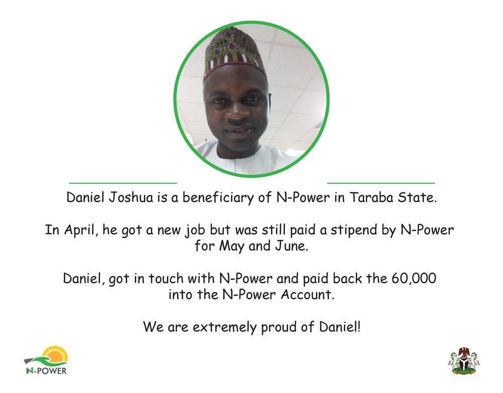 Yemi Osinbajo appreciates Man for refunding N-Power Stipend