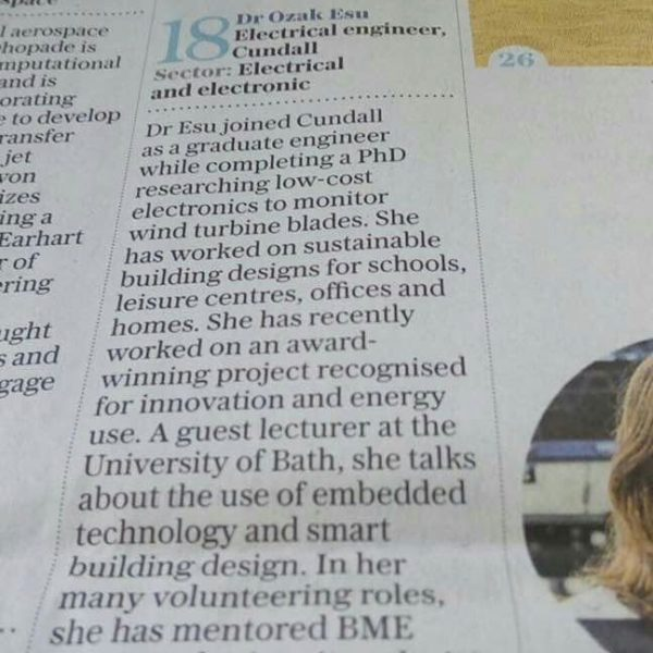 "Nigerian DrOzak Esu named among Telegraph's ""Top 50 Women in Engineering Under 35"""
